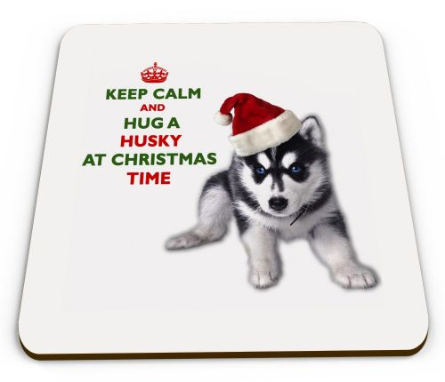 Christmas Keep Calm And Hug A Husky Novelty Glossy Mug Coaster